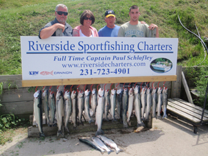 Mixed Bag of Salmon and Steelhead Trout - Manistee, Michigan Fishing Charter